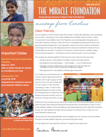 Miracle Foundation Newsletter February 2016