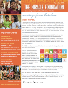 Miracle Foundation Newsletter November 2015